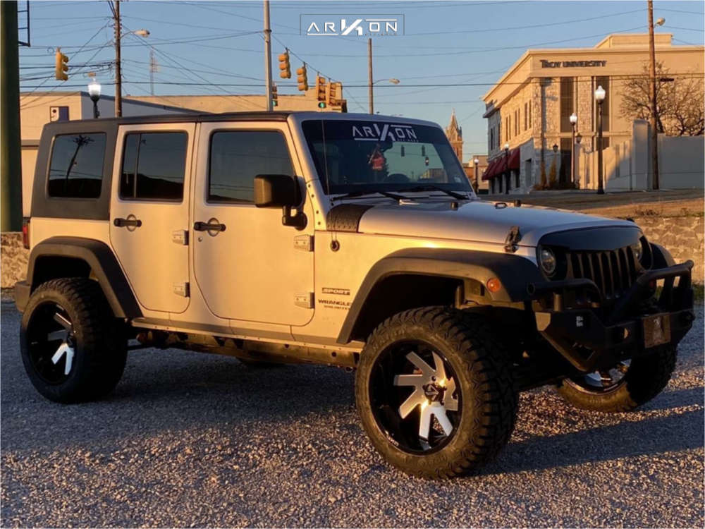 1 2010 Wrangler Jeep Unlimited Sport Rough Country Suspension Lift 25in Arkon Off Road Lincoln Machined Black