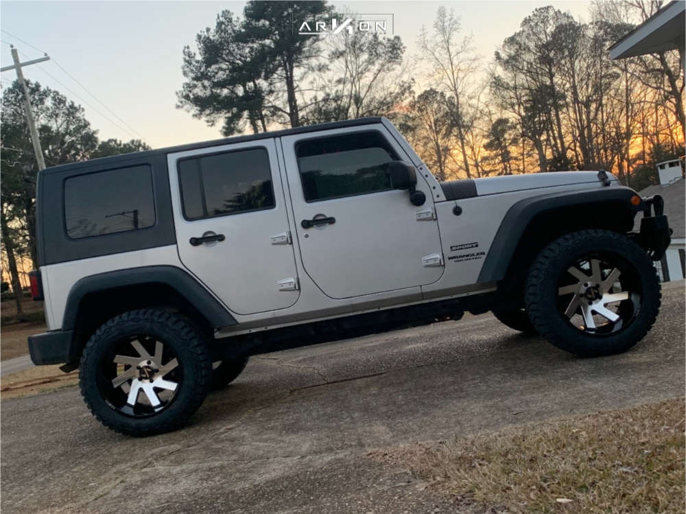 4 2010 Wrangler Jeep Unlimited Sport Rough Country Suspension Lift 25in Arkon Off Road Lincoln Machined Black