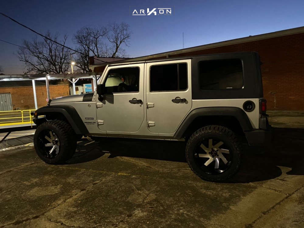 8 2010 Wrangler Jeep Unlimited Sport Rough Country Suspension Lift 25in Arkon Off Road Lincoln Machined Black