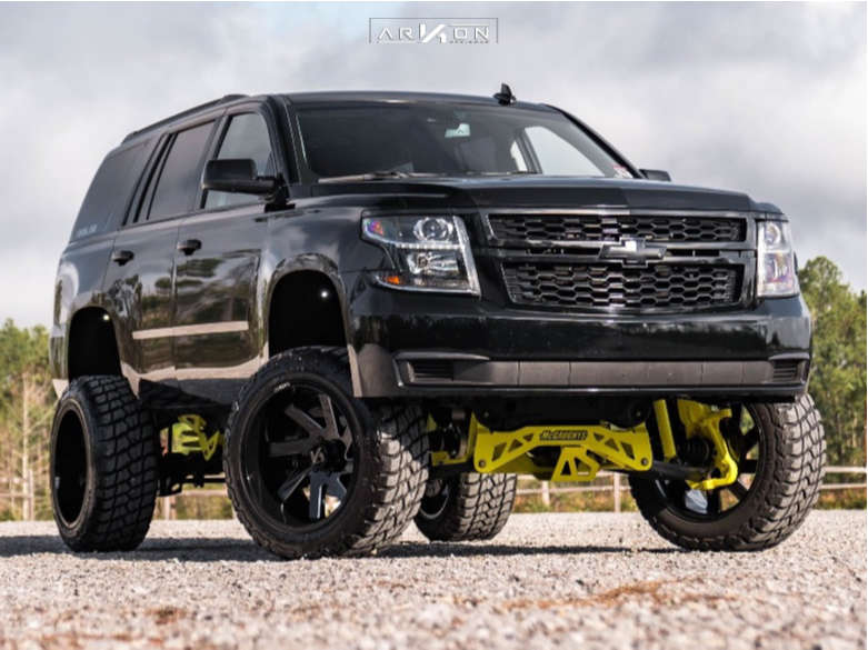 1 2015 Tahoe Chevrolet Mcgaughys Suspension Lift 9in Arkon Off Road Lincoln Machined Black