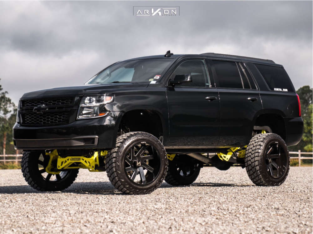 12 2015 Tahoe Chevrolet Mcgaughys Suspension Lift 9in Arkon Off Road Lincoln Machined Black