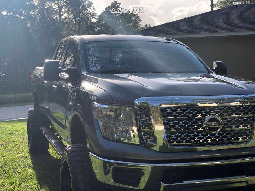 5 2019 Titan Xd Nissan Rough Country Suspension Lift 6in Arkon Off Road Lincoln Black