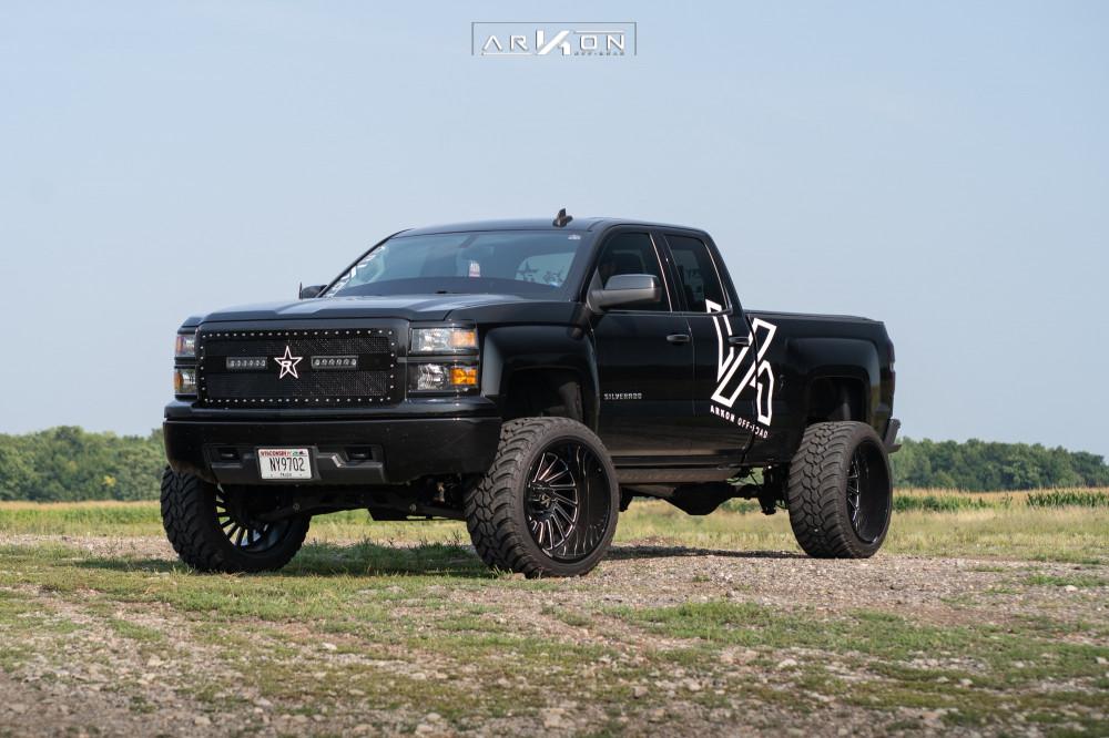 1 2015 Silverado 1500 Chevrolet Rough Country Suspension Lift 7in Arkon Off Road Caesar Machined Black