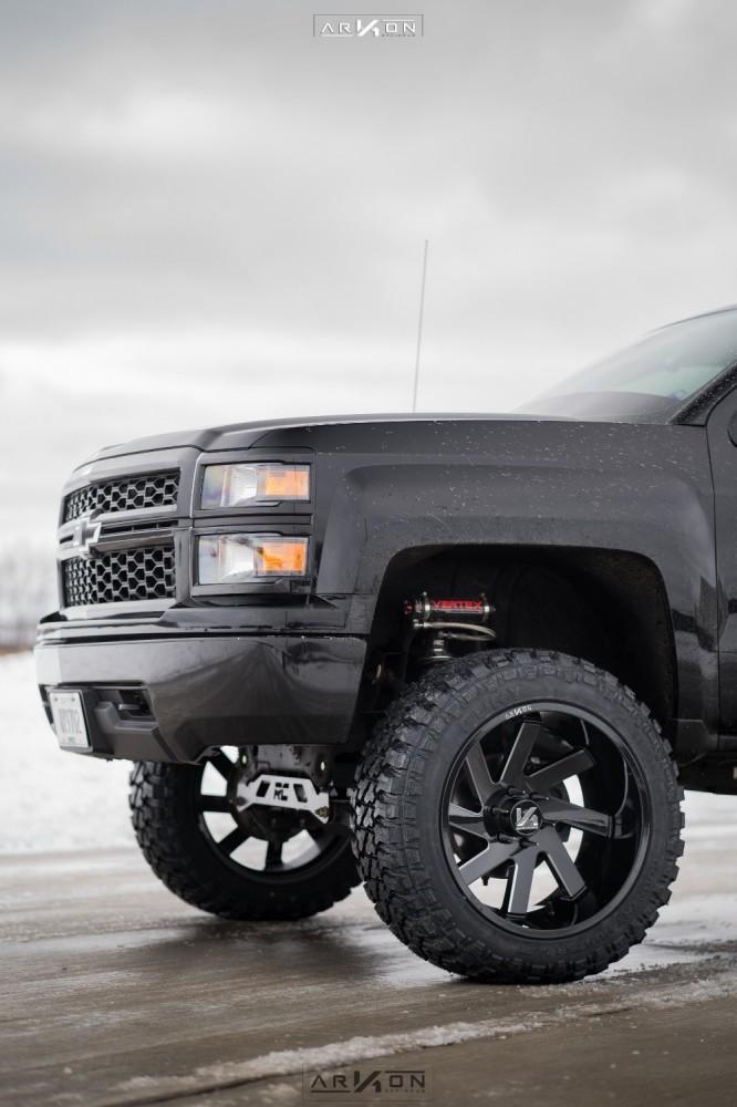 4 2015 Silverado 1500 Chevrolet Rough Country Vertex Coilover Suspension Lift 7in Arkon Off Road Ark I Black