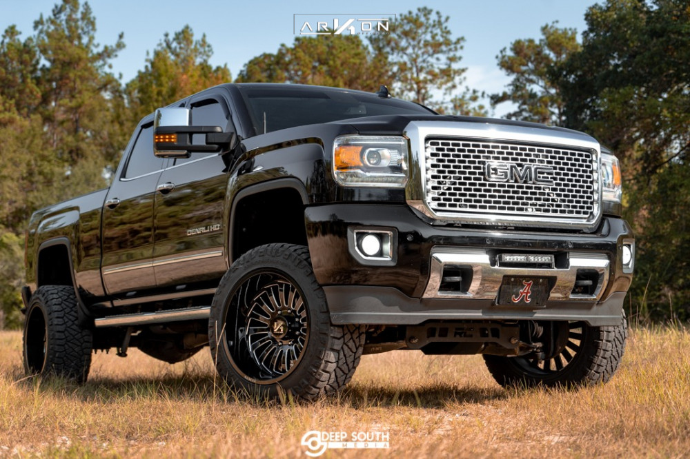12 2016 Sierra 2500 Hd Gmc Rough Country Suspension Lift 5in Arkon Off Road Alexander Machined Black