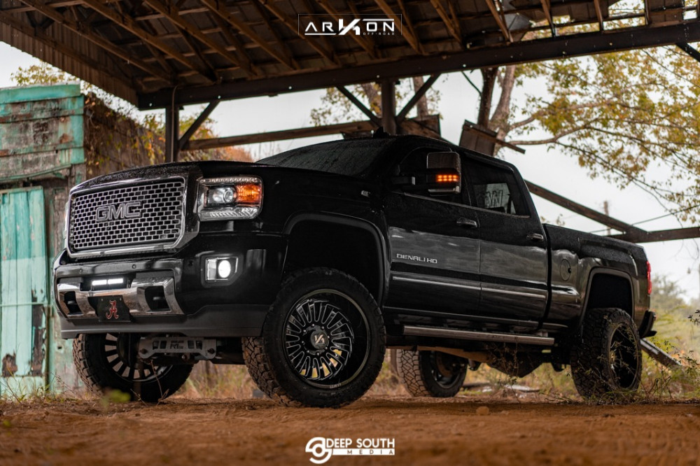 14 2016 Sierra 2500 Hd Gmc Rough Country Suspension Lift 5in Arkon Off Road Alexander Machined Black